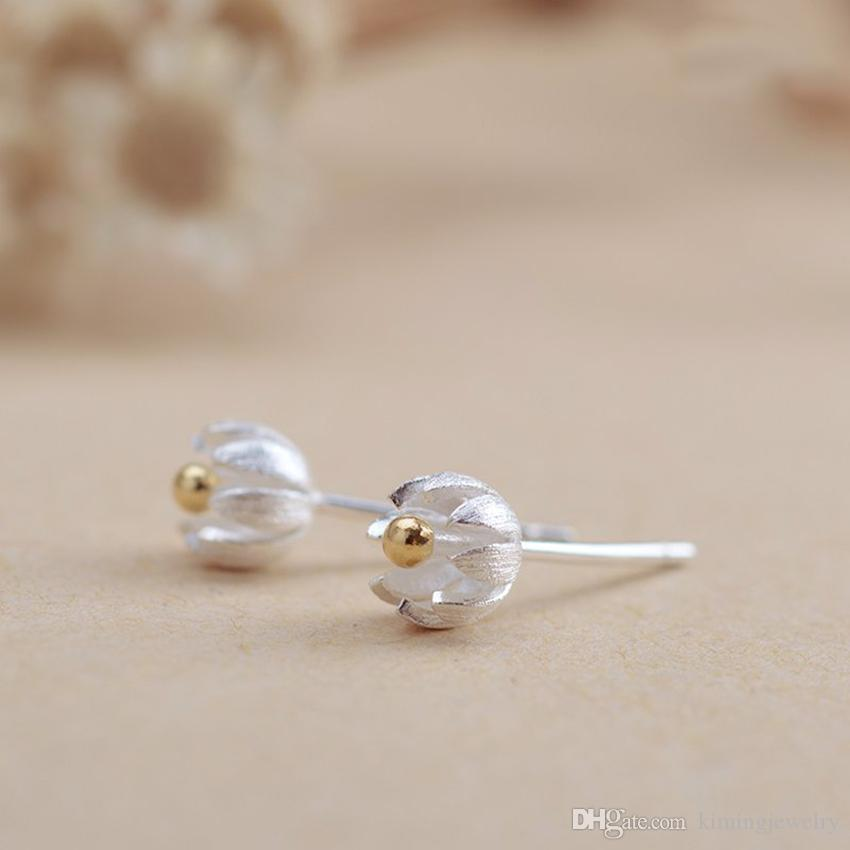 New Fashion Design Pure 925 Sterling Silver Elegant Golden Vintage Lotus Flower Stud Earrings Handmade Craft boucle d'oreille