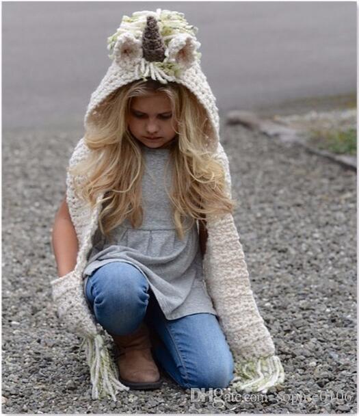 Winter Girl Unicorn Hat and Muffler Baby Warm Knitted Cap and Shawl Kids Fashion Autumn Winter Hat Christmas Gifts SHC 002