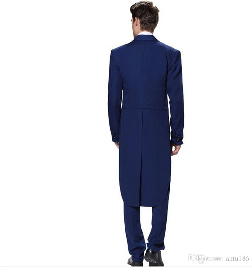 Novo design dos homens ternos clássico azul royal ternos do noivo fraque groomsman bonito smoking ternos paletó + colete + calça