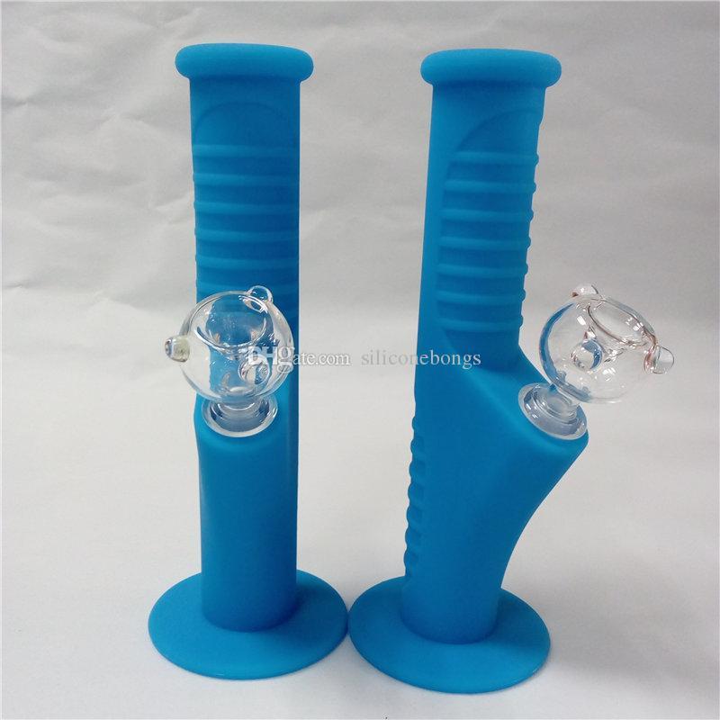 Синий мини Силикон воды Bongs десять цветов 9,5 дюйма Мини Силиконовые Bongs Водопроводные трубы Unbreakable Bongs барботажного Трубы