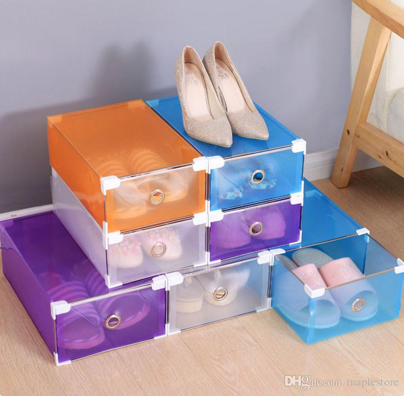 2018 Diy Folding Shoes Box Shoes Storage Boxes Transparent Boots Candy  Color Metal Edging Drawer Plastic Finishing Box Shoes Organizer From  Maplestore, ...