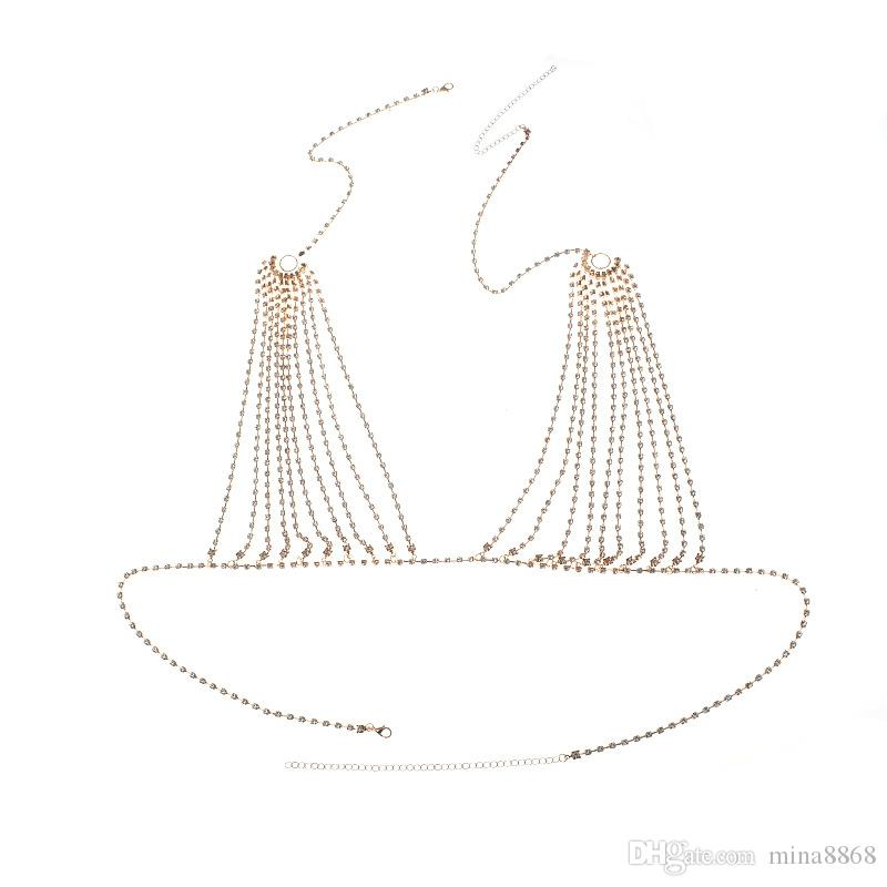 Frauen-reizvolles silbernes Gold überzogene Ineinander greifen-Troddel-Körper-Ketten-BH-Bikini-Kristallkörper-Schmuck-Frauen-Strandschmucksachen Geschenke Großverkauf