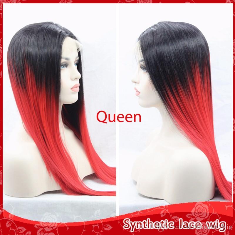 Mode glueless brasilianische Lace Front Perücken seidig gerade Ombre rotes Haar Perücken mit dem Babyhaar billige synthetische Perücken für schwarze Frauen