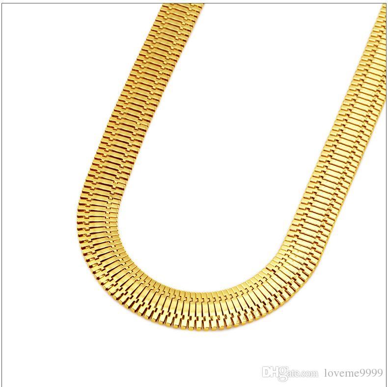 2016 новый ширина золото заполненные гальваническим ожерелье кубинский ссылка Снаряженная цепи хип-хоп Bling ювелирные изделия Мужчины Женщины 75 см*1.4 см ожерелья