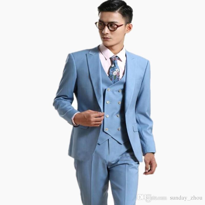 Vestito Matrimonio Uomo Azzurro : Acquista ultimo stile abiti da uomo azzurro un matrimonio pulsante