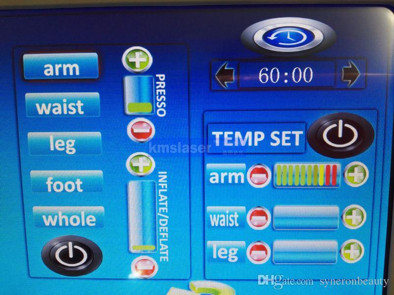 3 في 1 pressotherapy تداول ملابس التخسيس حرارة الأشعة تحت الحمراء التفاف ضغط الدم مدلك EMS الكهربائية تنشيط العضلات التخسيس تجهيز
