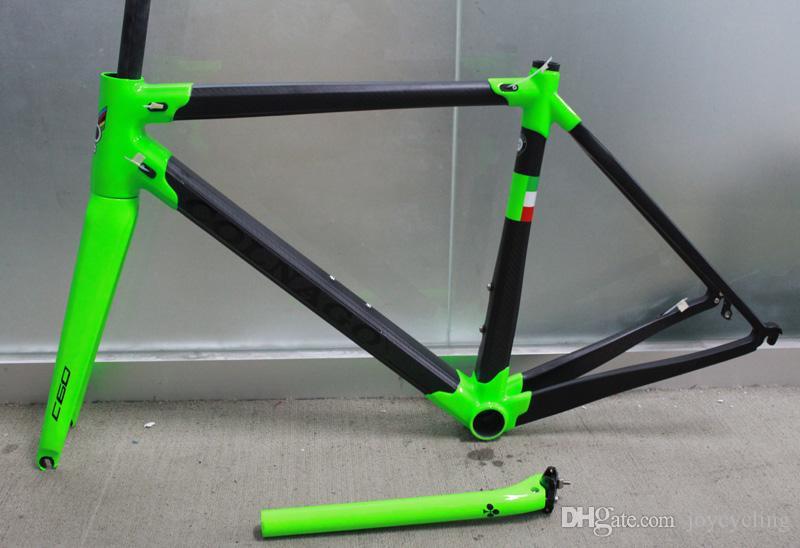 grüne Malerei Colnago C60 Rennrad Carbon Rahmen Vollcarbon Rennrad Rahmen 48 50 52 54 56 cm T1000 Carbon Frameset