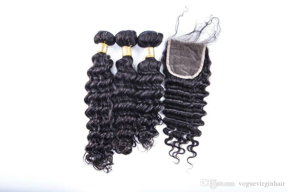Migliori estensioni di trama dei capelli del tessuto umano brasiliano 3 pacchi e chiusura superiore del merletto 4