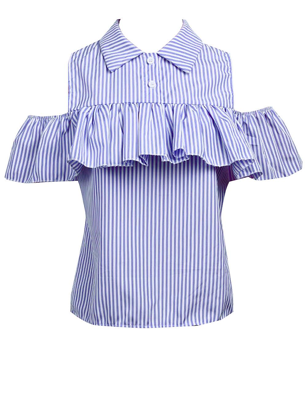 82c9abcf1c6 2019 2017 Trendy Summer Women Loose Ruffles Off The Shoulder Plaid Striped  Blue Pink Shirts Top Casual Blouses Hot Sale From Wonderful9