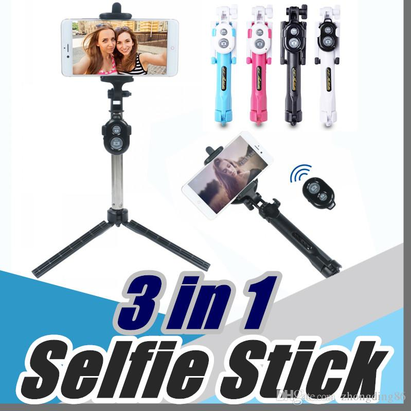 2017 Non-slip Super Bluetooth control selfie stick with tripod Handheld  Extendable Monopod -Built in Bluetooth Shutter New offer