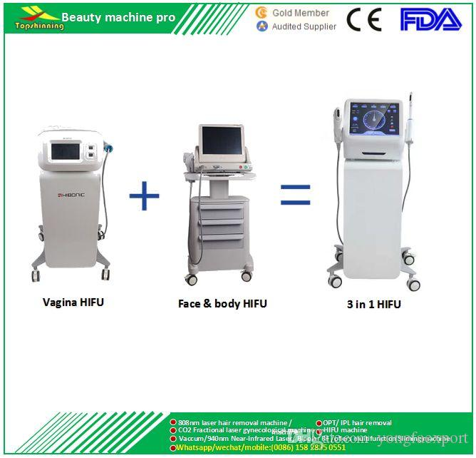 3 1 çok fonksiyonlu CE, LVD, ECM Onaylı taşınabilir yüz germe kırışıklık kaldırma vücut zayıflama shapping kilo lossvagina sıkma HIFU makinesi