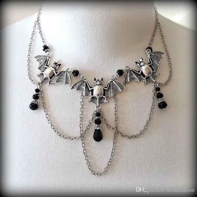 Mode Multi Element Choker Kreative Design Vintage Bat Halsreifen Halskette Trendy Klassische Kristall Anhänger Halsketten Schmuck Für Frauen