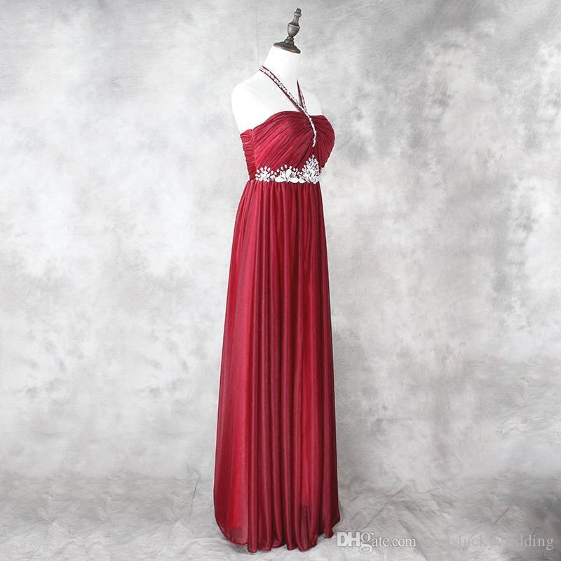Burgundy Halter Neck Beaded Long Bridesmaid Prom Gowns Dresses 2017 New Pleated Bridesmaid Dress For Wedding Party Guest Dress