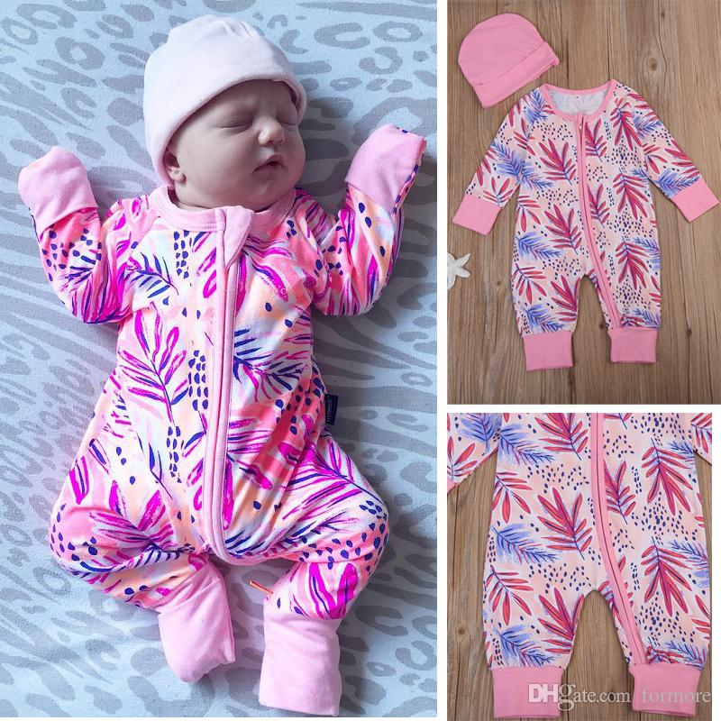17208b87a69 2019 Newborn Baby Girl Romper Fall Boutique Clothing Kids Suit Infant  Pajamas Long Sleeve Warm Baby Clothes Pink Jumpsuit 0 24 Bodysuit Autumn Se  From ...
