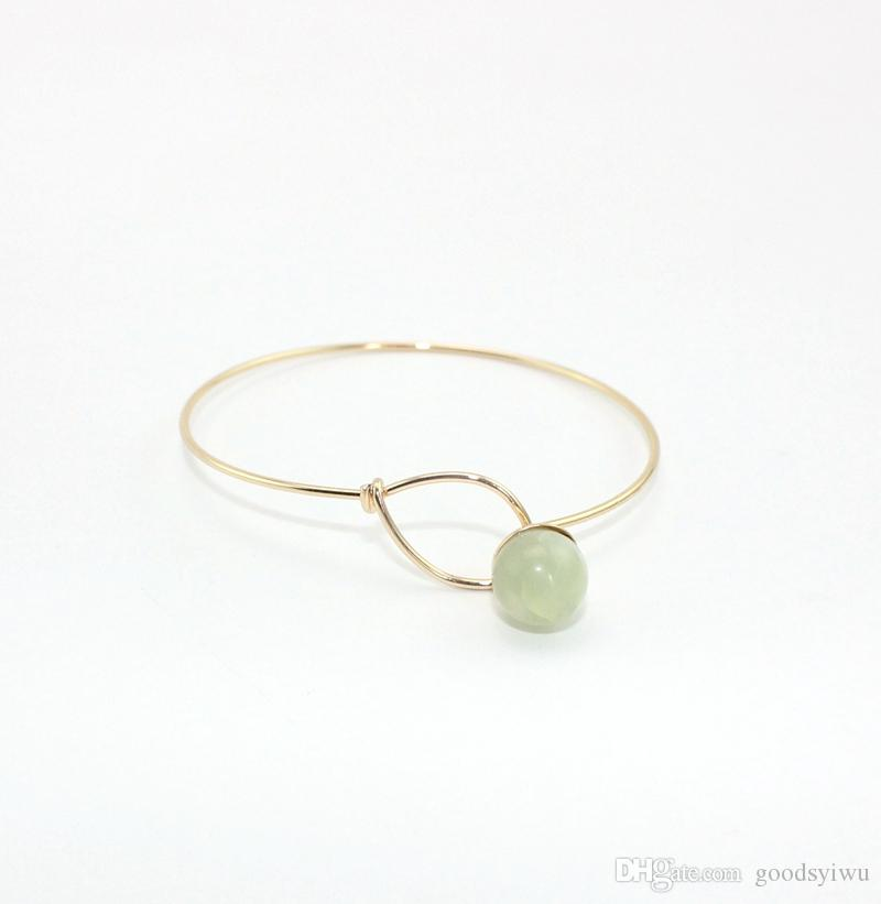 Gold Plated Natural Stone beads Charms Bracelets Round gems stone ball Bangle cuff Jewelry for women men