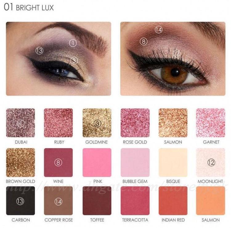 Professional New Eyes Shadow Color Waterproof Shimmer Powder Pigment Warm Metallic Focallure Eyeshadow Makeup Palette