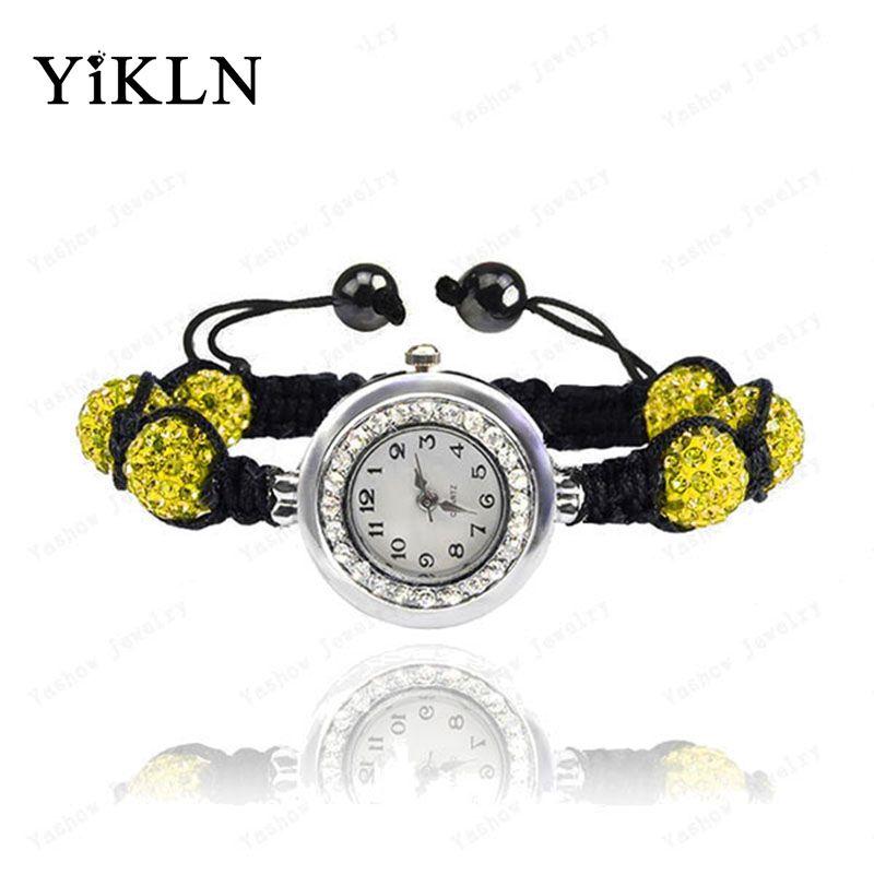 YiKLN Jewelry European Style Fashion Crystal 10mm AB Clay Disco Ball Watches Rhinestone Bracelet Bangle Wedding For Women SHBR11