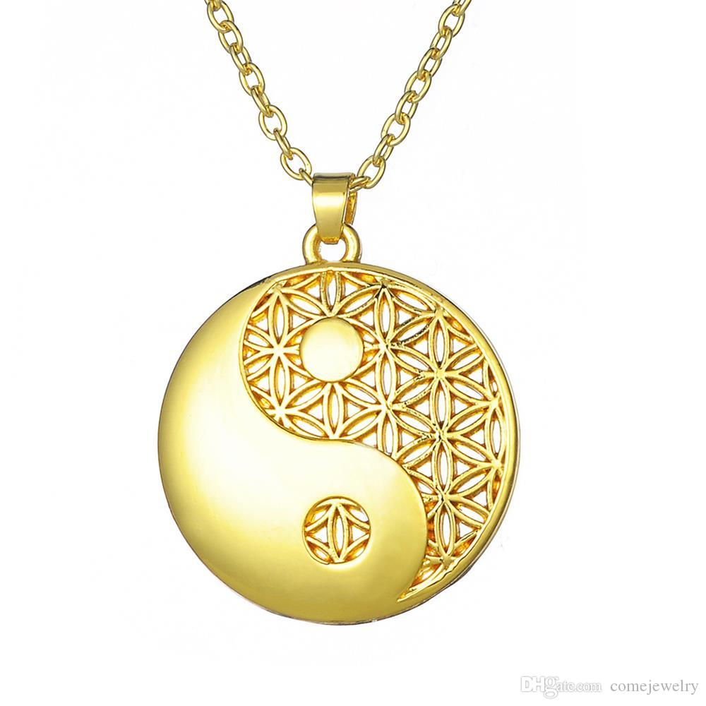 Supernatural Knot Male Flower of Life Necklace Men Pendant Egyptian Jewelry Tai Chi Mandala Women Collar Silver Plated
