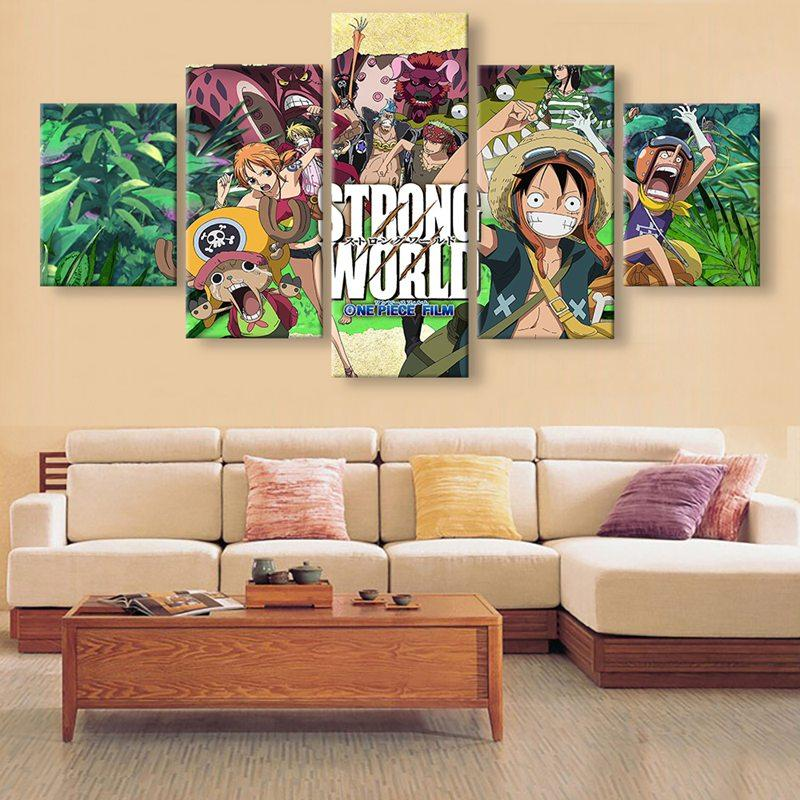 5 panels unframed wall art painting one piece luffy zoro hanging in home decoration canvas print printing online with 32 79 piece on youda0077s store