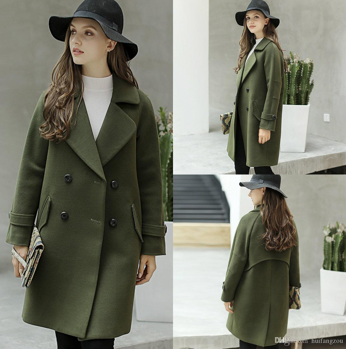 2019 Wholesale Women Wool Winter Coats Hunter Green Warm Jackets Blends Polo Neckline Cold Protection Down For From Huifangzou