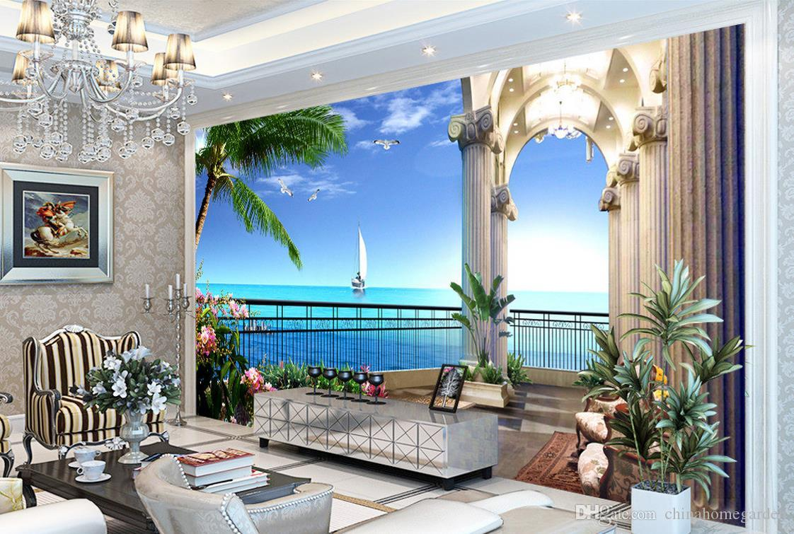 Hd sea view picture painting 3d tv background wall mural for Decor mural xxl