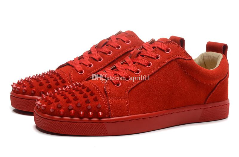new product 400bd efd6a Low Cut Solid Suede Spikes Toe Red Bottom Sneakers Design Mens Women Causal  Shoes Black Red Beige Blue Flats