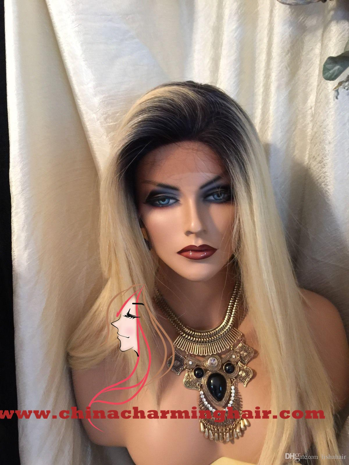 1b 613 dark root Vrigin human hair ombre blonde full lace wig and lace front wig 1b 613 silky straight