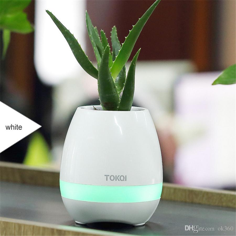 TOKQI bluetooth Smart Music Vasi da fiori intelligente vero tocco vegetale play flowerpot luce colorata da molto tempo riproduzione bass speaker Night light