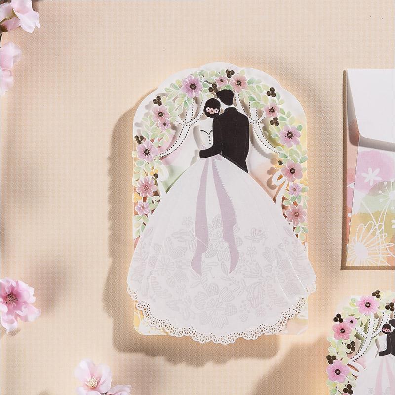 Hollow Groom & Bride Pattern Laser Cut Lace Flora Wedding ...