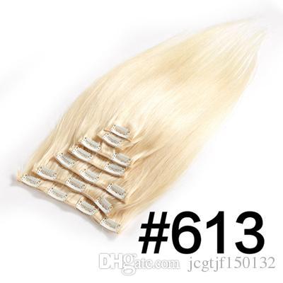인간의 머리카락 확장에 스트레이트 클립 100g 4a 4b 4c 비 레미 헤어 100 % 인간의 머리 금발 컬러 613 전체 헤드 세트