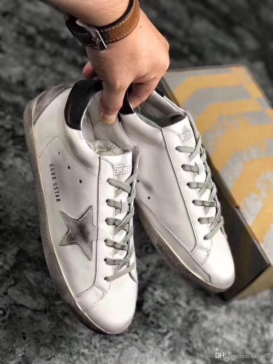 678b2434339837 Italy Brand Handwork Do The Old Shoes Leather Golden Goose GGDB Trend  SuperStar Men Women Casual Grey Cord 34 44 Sneakers Office Shoes From  Sang92