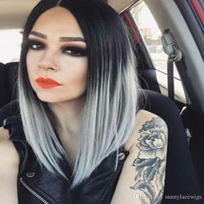Ombre Gray Grey Silver Synthetic Lace Front Wigs Bob Wig Synthetic