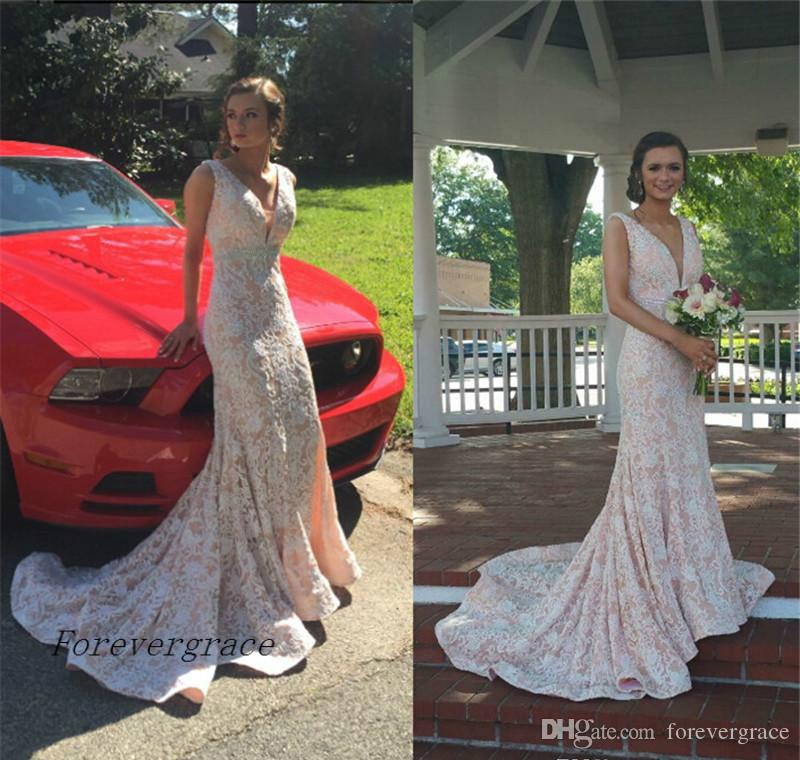 034bf35973ea 2017 Beautiful Lace Wedding Dress Vintage Mermaid V Neck Sleeveless Long  Reception Bridal Gown Plus Size Custom Made Simple Mermaid Wedding Dresses  Wedding ...