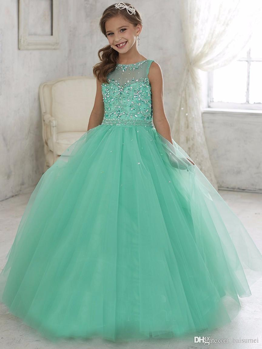 f7f56584d8 2016 Sleeveless Tulle Light Green Ball Gown Rhinestone Sequin Beads Lace Up  Kids Prom Gowns Flower Girl Dress Lime Green Flower Girl Dresses Little  Girl ...