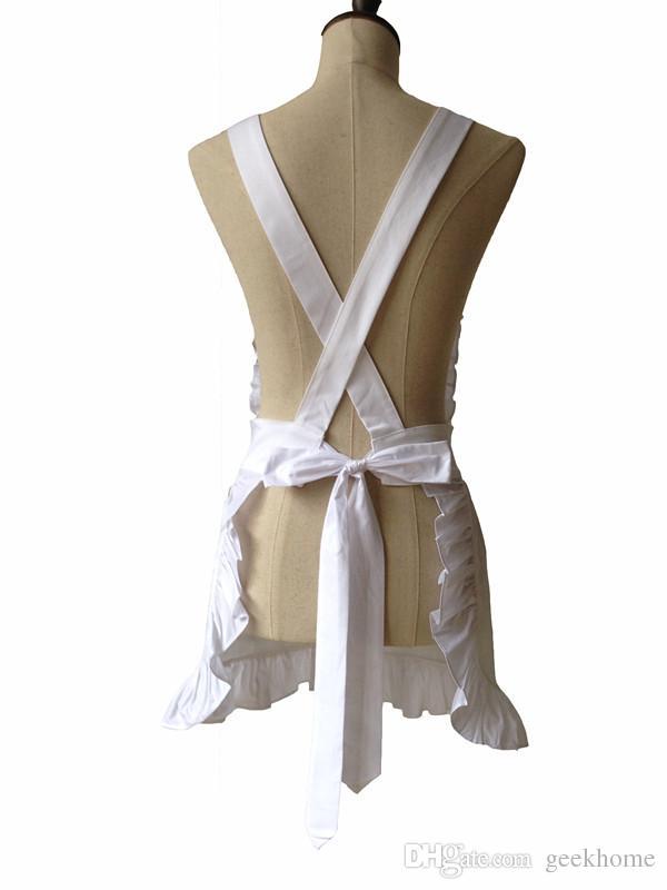 Al por mayor-estilo japonés de las mujeres elegantes de color blanco con volantes delantal de algodón estilo corto con Corss Volver adulto Cosplay Delantal