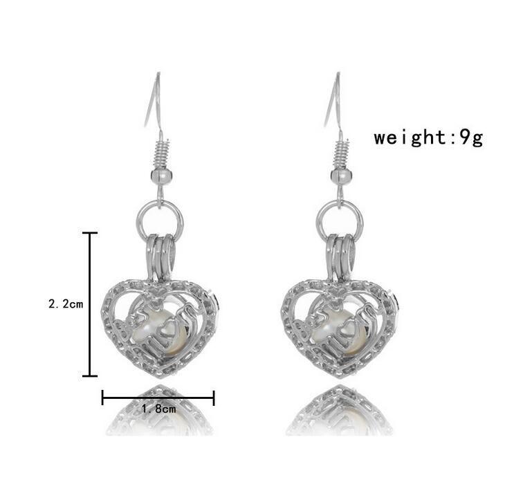 Mode Liebe Wunsch Perle Käfige Medaillon Ohrringe Süßwasserperlen Oyster Anhänger Ohrringe ohne Pearl Canned Aushöhlen baumeln Ohrringe