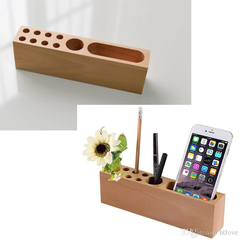 Wood Pencil Stand Holder For Desk Business Card With Office Pen 10 Slots Desktop Organizer