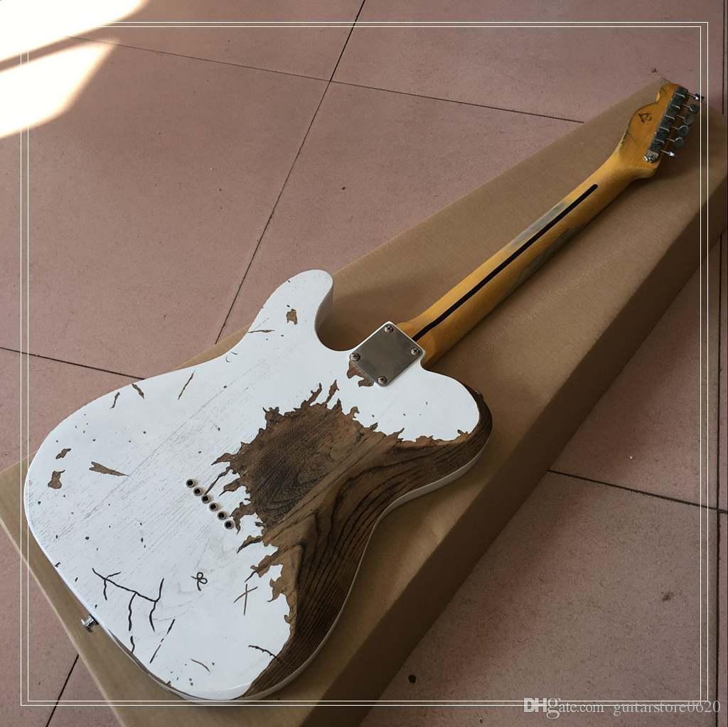 Высокое качество имитация белый старый электрогитара клен гриф вид бесплатная доставка популярна в этом году