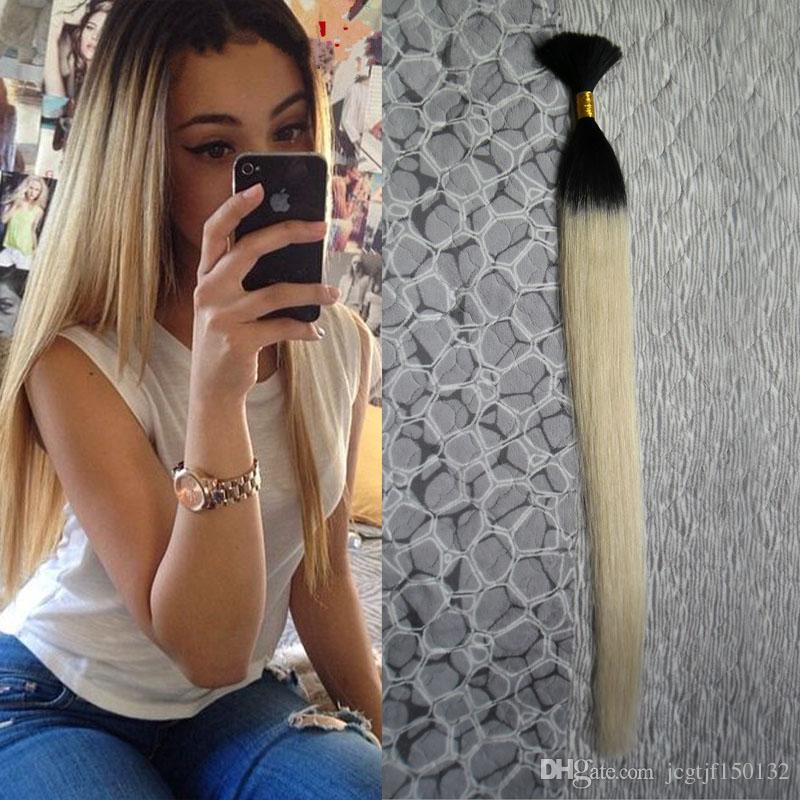 8a 학년 tresse 크로 셰 뜨개질 머리 띠 인간의 100g 인간의 머리카락 벌크 1 피스 T1B / 613 ombre 인간의 머리카락 brazilian 꼰 머리 대량 아니 weft