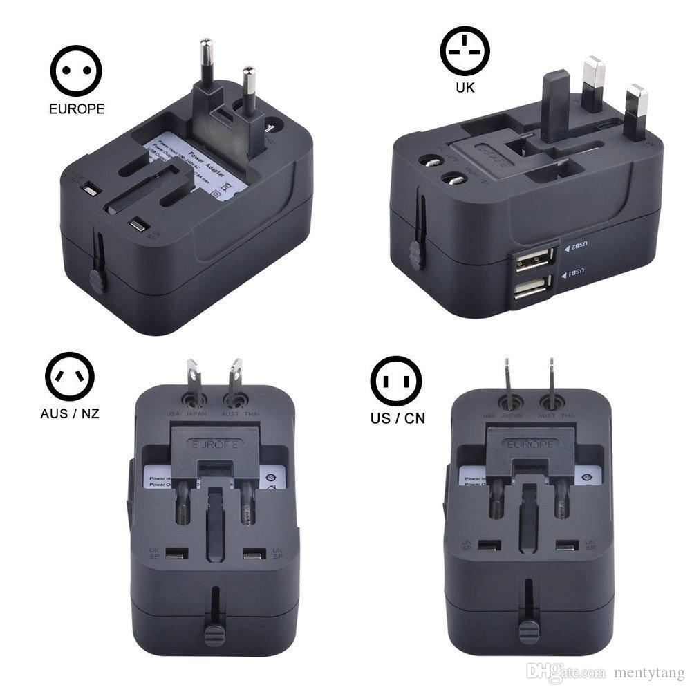 Travel Inspira Universal All In One Worldwide Travel Power Plug Wall AC Adapter Charger with Dual USB Charging Ports for USA EU UK AUS