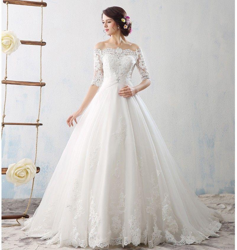 discount designer boat neck soft lace applique ball gown wedding dresses 2017 half sleeve. Black Bedroom Furniture Sets. Home Design Ideas