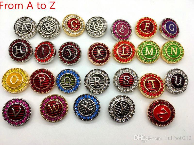 Jahrgang 26 Englisch Brief Ingwer Snaps Metall Alphabet Druckknopf austauschbar Schmuck Zubehör Mix A-Z Großhandel viele