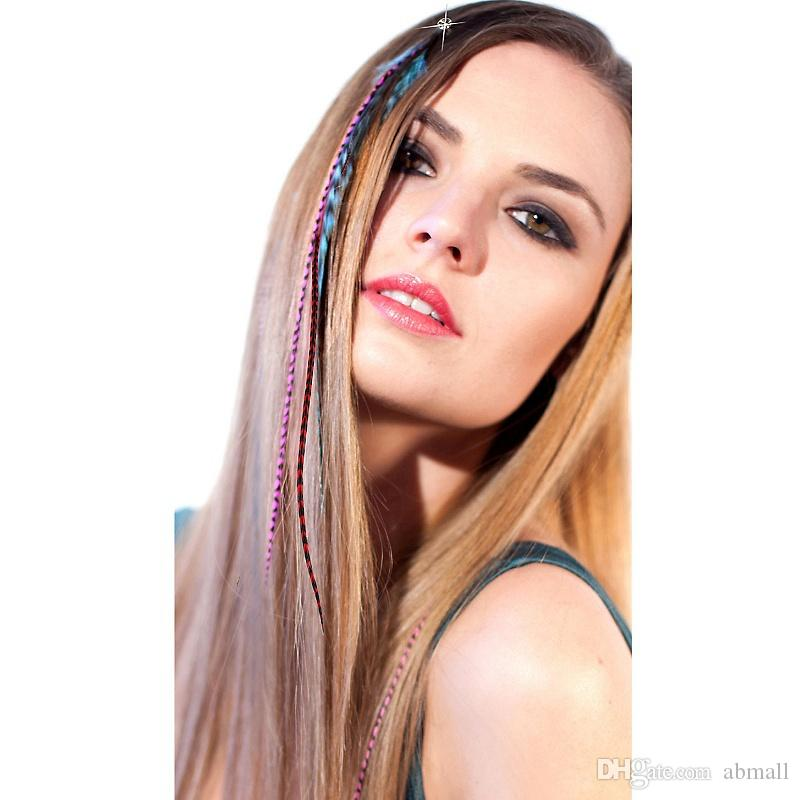 Colorful grizzly rooster feather hair extension cheap hair Jewelry clip in hair extensions