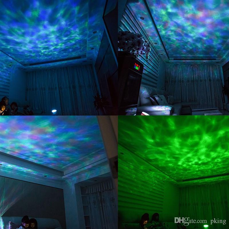 New Ocean Wave Projector Nightlight Baby Sleeping Night Lamps IR RGB Led Speaker for Kids