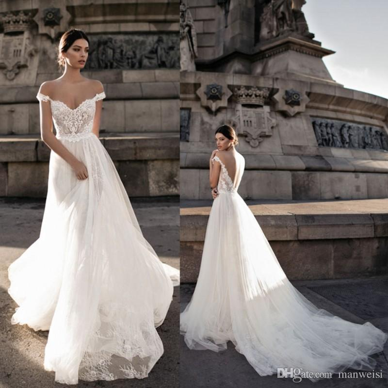 29314de79be Discount Gali Karten 2018 Wedding Dresses Sheer Backless Bohemia Sexy Off  The Shoulder Lace Appliqued Bridal Gowns Custom Made Bride Dress A Line  Wedding ...