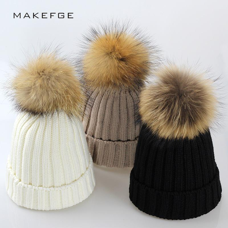 16234baa1a115 Real Fur Winter Hat Raccoon Pom Pom Hat For Women Brand Thick Women Hat  Girls Caps Knitted Beanies Cap Wholesale 2017 New Style Knitted Beanies Wool  Women ...
