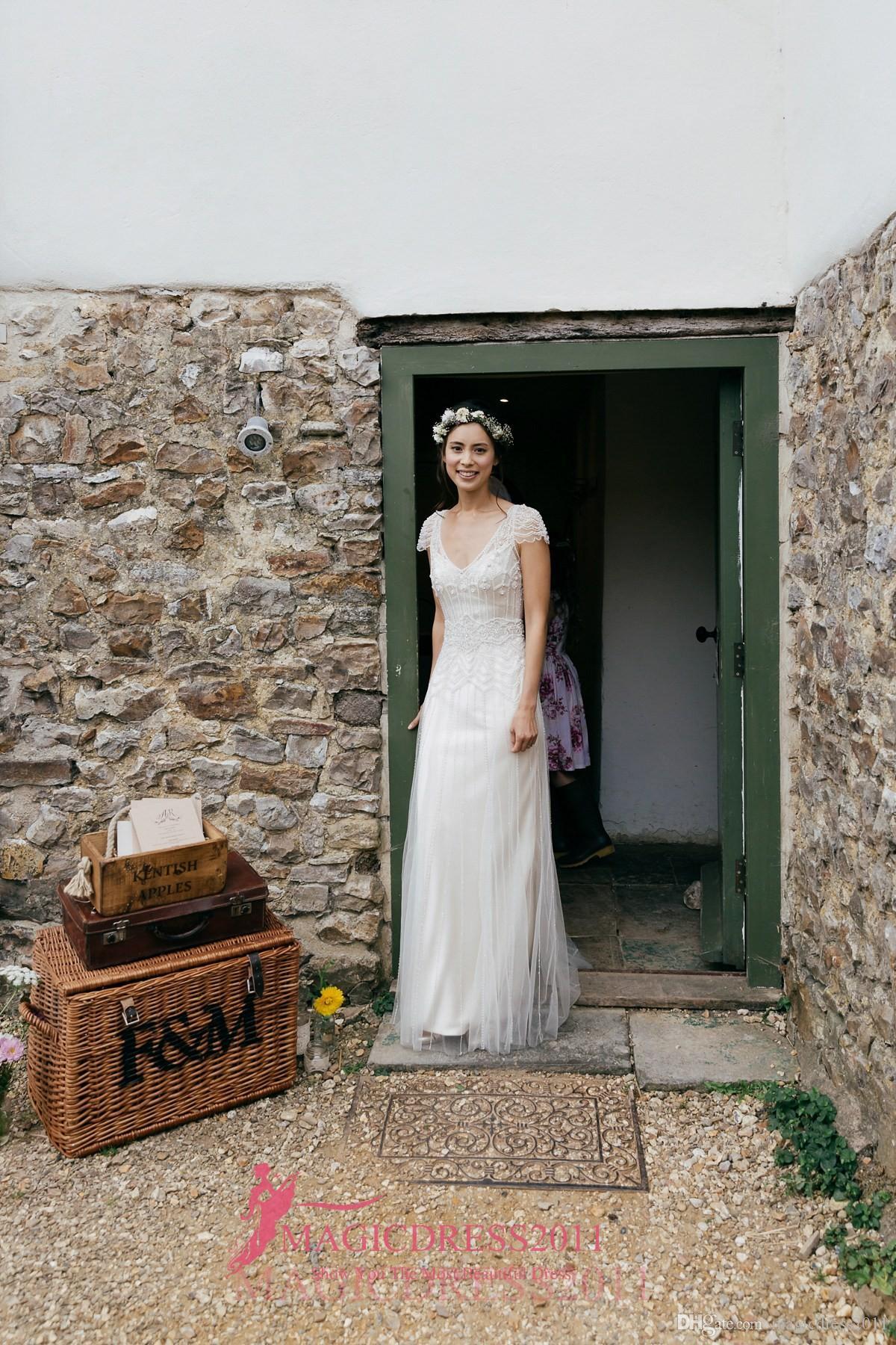 2019 빈티지 웨딩 드레스에 대 한 짧은 소매 A 라인 깊은 V- 넥 메이저 페르시 아산 된 Jenny Packham와 현대 웨딩 드레스