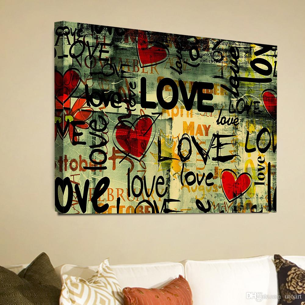 Graffiti Love Word Landscape Canvas Painting Home Decor Canvas Wall Art Picture Digital Art Print For Living Room From Utoart   Dhgate Com
