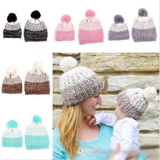Mother and Baby family Crochet knitting Hats 2 Pcs Toddler Kids Boys Girls Knitted Beanie Hat Children Adult Winter Warm Fur Pompon Caps