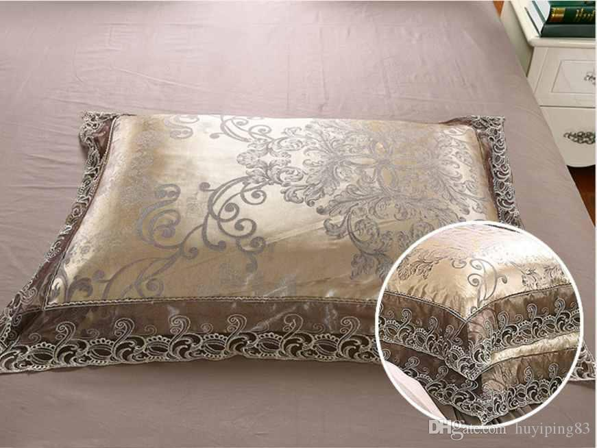 Gold Silver Coffee Jacquard Set biancheria da letto di lusso Set Queen / King Size Set da letto Stain Set 4 / Cotton Silk Lace Duvet Cover Set Biancheria da letto Tessile la casa